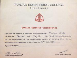 Social Service at PEC - Kulbir Singh