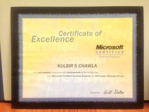 Microsoft Certified Systems Engineer Kulbir Singh